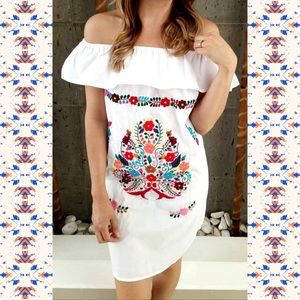 Mexican Off Shoulder White Dress Embroidered